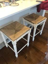 2 counter height stools. Like new condition. Off white legs  Boston, 02210