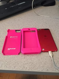 red iPod Touch with pink rubber case and pink Griffin Survivor Slim case