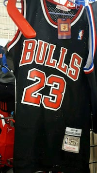 black and red Chicago Bulls 23 jersey