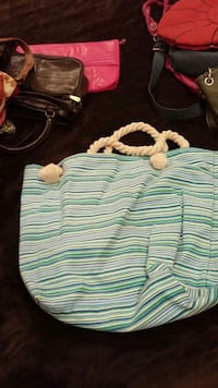 green and white stripe tote bag