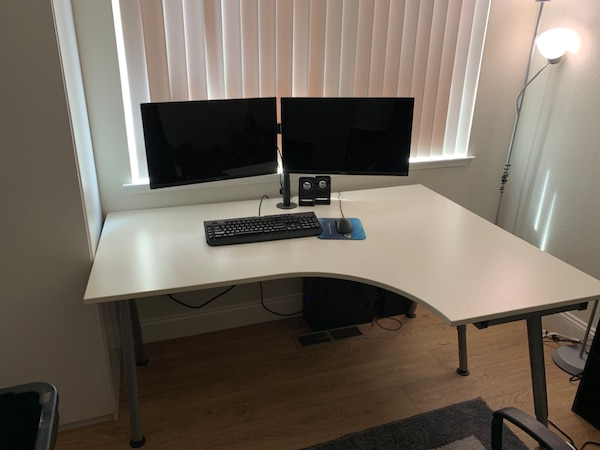 Sensational Ikea Galant Desk With Adjustable Legs And Dual Monitor Mount Home Interior And Landscaping Spoatsignezvosmurscom