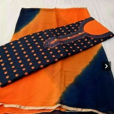 women's orange and dark-blue sari