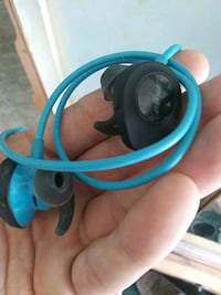 blue and black corded headphones Candler, 28715