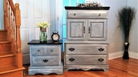 GORGEOUS WOOD DRESSER and night stand,  SHABBY CHIC FURNITURE  Saint-Lazare