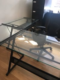 Black metal frame glass top corner desk Toronto, M3H 1C5