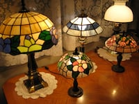 TIFFANY HANDMADE STAINED GLASS TABLE LAMPS - These beautiful Tiffany Stained Glass lamps need a new home.  They are handmade of colored glass and set in a metal frame, and are in perfect working condition. The stained glass  Toronto