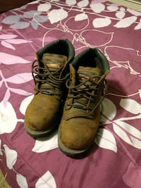 pair of brown leather work boots Garland County
