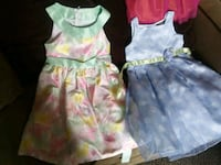 girl's two pink and green floral sleveeless dresses 2867 km