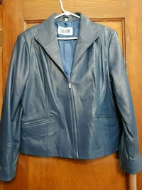 Womens blue leather jacket  Toronto, M6C 1C5