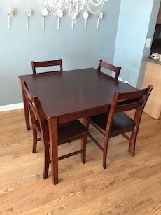"""42"""" square wooden table with 4 chairs"""