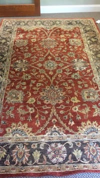 Hand made 100% wool area rug made in india.  very beautiful, rich detail.  new lower price - this is an amazingly low price for the quality of this rug. De Witt, 13057