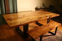 Unique ,handmade dining table with bench