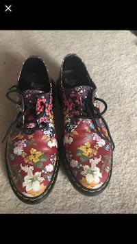 Pair of black-and-pink floral Doc Martens  Dumfries, 22025