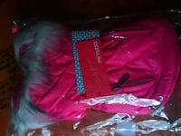 Pink and gray parka pet jacket