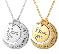 I love you to the moon and back necklace - New - Silver & Gold
