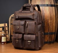 MANTIME BOOPDO VINTAGE 16 INCH THREE DIMENSIONAL LEATHER BACKPACK IN B