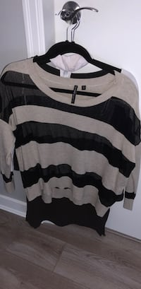 Black mesh and beige stripe scoop-neck shirt New Westminster, V3M