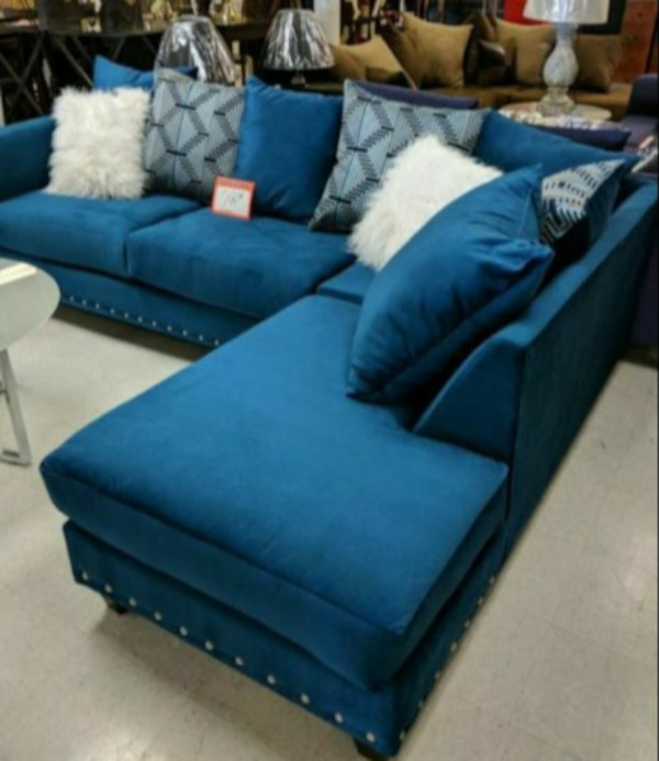 Blue Suede Sectional Sofa With Throw Pillows