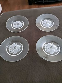 """Val St Lambert Crystal glass set of 4 salad plate 7 7/8"""" Brussels"""