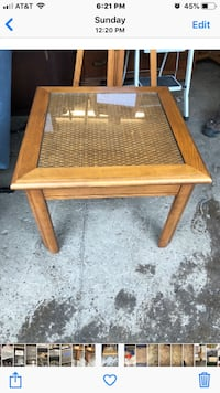 Wood end table with glass topped Weave inlay Rochester, 14608