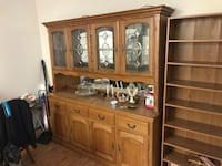 Brown wooden cabinet with hutch