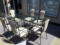 round glass top table with four chairs dining set Qualicum Beach, V9K 1C2