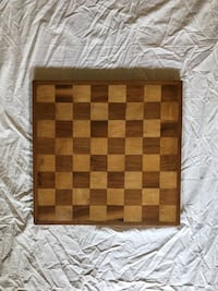 Antique wood chess/checker game board