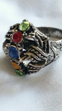 Silver plate adjustable  ring with stones Oshawa, L1K 0B9