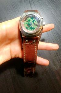round silver analog watch with brown leather strap Edmonton, T5M 3L3