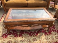 Traditional Wood and Glass 3 pc Coffee Table Set