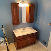 Bathroom vanity, countertop, faucets, 2 wall cabinets and mirror.  Light included too! Baldwin, 21013