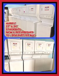 "27"" or 24"" Stackable Washer and Dryer  Baltimore, 21209"