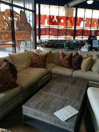 Light grey fabric sectional sofa w/ throw pillows Seattle, 98116