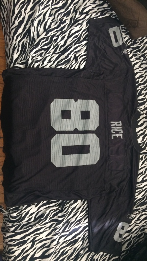 promo code bf3a6 7176b Used black and grey Jerry Rice 80 jersey for sale in ...