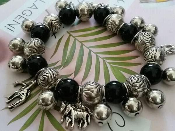 Silver plate charms with animals  bracelet