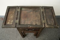 Vintage Black Lacquer Chinese Calligraphy Table and Stool Plymouth