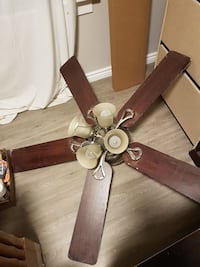 brown 5-bladed ceiling fan with lights Niagara Falls, L2E 4H8
