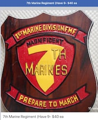 1st Marine Division, magnificent 7, beautiful finished monkey wood plaque 40 ea Metairie