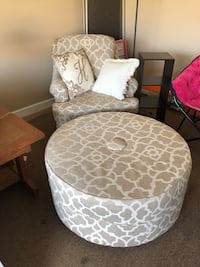 Beige and white/cream fabric chair and ottoman (pillows for sale too) Grovetown, 30813