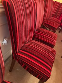 Modern red & black stripe dining chairs- $75 each, 8 pcs available  Ashburn, 20147