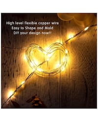 EXSUSS 2 Sets Indoor String Lights 16.4ft 50 LEDs Battery Powered Outdoor & Indoor Copper Wire Decorative Rope Lights for Garden, Bedroom, Patio, Wedding and Valentine, Warm White Manteca