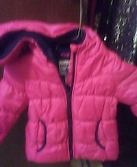 pink and black zip-up bubble jacket