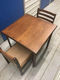 Square brown wooden table with two chairs dining set Mississauga, L5A 1Y5