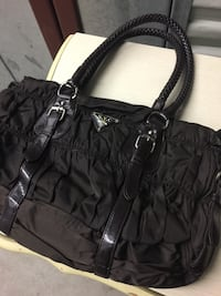 Brown leather and cloth tote bag Clinton Township, 48035