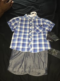 blue and white plaid button-up shirt Norwich, 06360