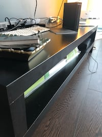 Black wooden 2-layer tv stand 2 years old Toronto, M5V 0C6
