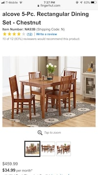 Dining table and chairs set new in box