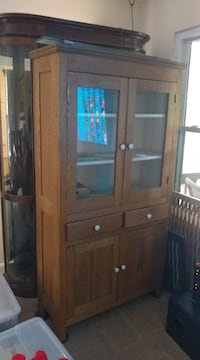 Antique Refinished Oak Cabinet null