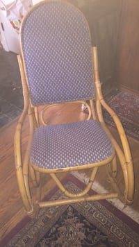 brown wooden frame blue padded rocking chair Silver Spring, 20910