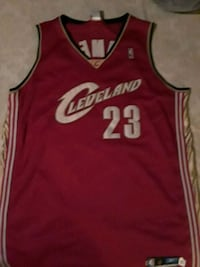 red and white Cleveland Cavaliers Lebron James 23 jersey Baltimore, 21226